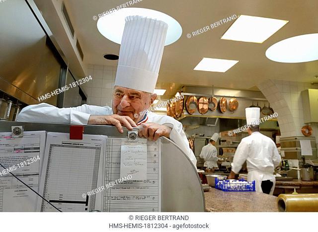 France, Rhone, Collonges au Mont d'Or, Paul Bocuse Restaurant L'Auberge du Pont de Collonges, three Michelin stars since 1965, famous French chef Paul Bocuse