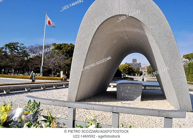 Hiroshima (Japan): the cenotaph for the victims of the atomic bomb at the Peace Memorial Park