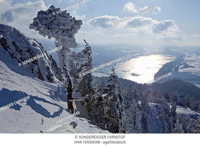Dent de Vaulion, Valle de Joux, view, Lac de Joux, mountain, mountains, scenery, landscape, lake, lakes, winter, canton, VD, Vaud, tree, trees, Switzerland