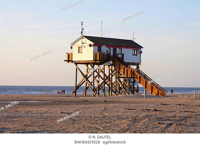 pile dwelling on the beach, Germany, Schleswig-Holstein, Northern Frisia, St. Peter-Ording
