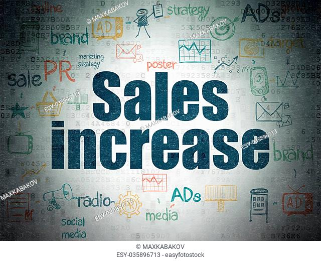 Advertising concept: Sales Increase on Digital Data Paper background
