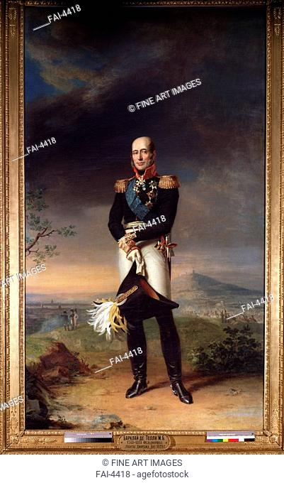 Portrait of Field marshal Count Mikhail Barklay-de-Tolli (1761-1818). Dawe, George (1781-1829). Oil on canvas. English Painting of 19th cen. . 1829