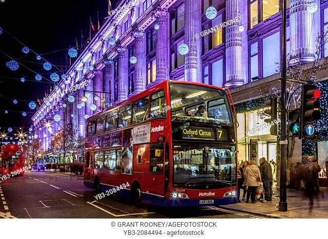 Selfridges Department Store and Oxford Street at Christmas, London, England