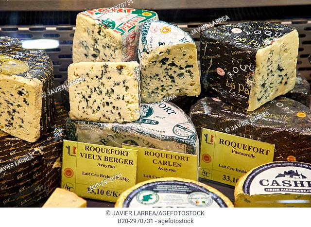 Roquefort cheese, Les Halles, market building, Dijon, Cote d'Or, Burgundy Region, Bourgogne, France, Europe