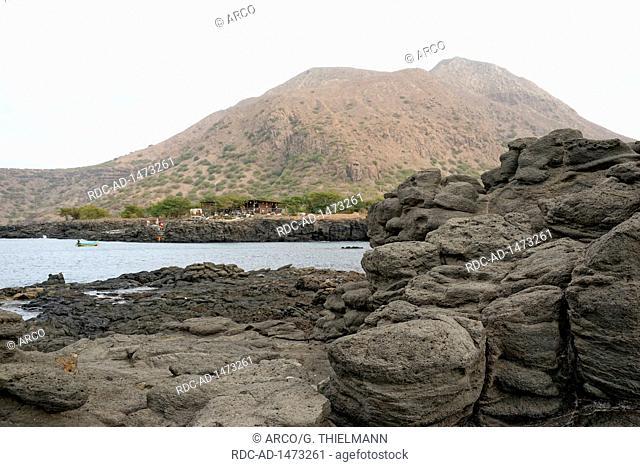 Coast near Tarrafal, Beach Bar, Monte Graciosa, Tarrafal, Santiago Island, Cape Verde, Africa