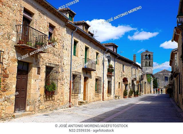 Main Street, Pedraza, Segovia Province, Castille Leon, Spain