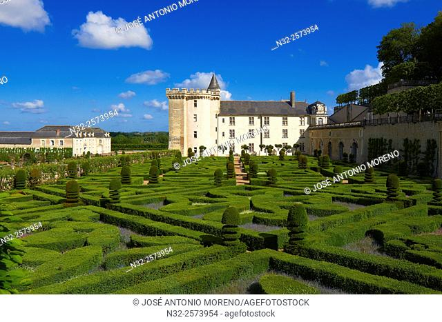 Villandry, Castle and gardens, Château de Villandry, Indre et Loire,Touraine, Loire Valley, UNESCO World Heritage Site, France