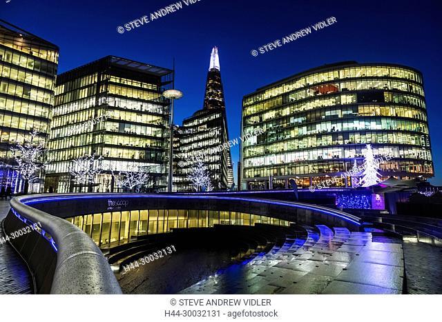 England, London, Southwark, London Bridge City, More London Riverside Office Complex and The Shard
