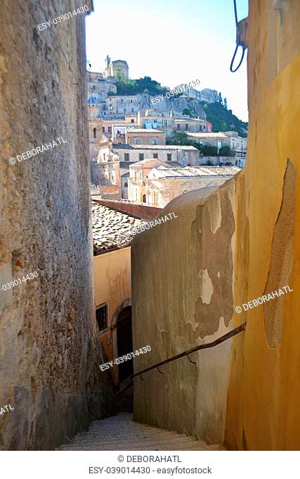 Ragusa Sicily built on a hillside with a maze of narrow streets and stairways
