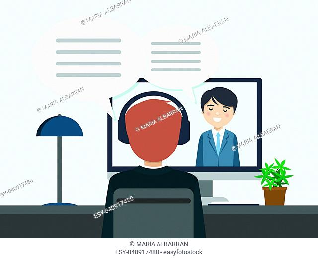 Two people talking by videoconference. Vector illustration
