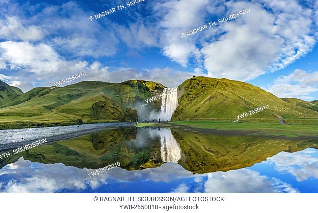 Mirror image with Skogafoss Waterfalls, Iceland