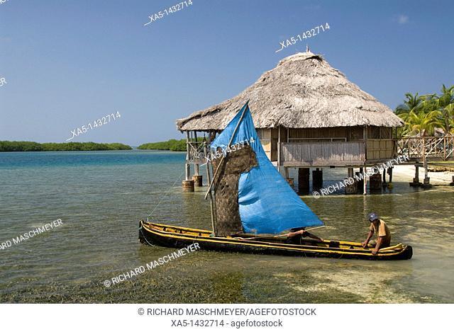 Canoe with sail, Yandup Island, San Blas Islands also called Kuna Yala Islands, Panama