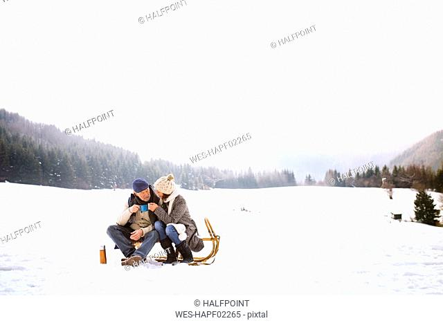 Senior couple sitting side by side on sledge in snow-covered landscape