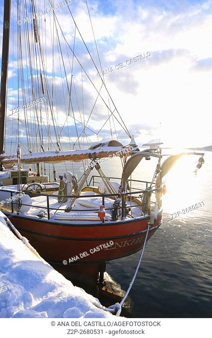 Harstad is the second-most populated municipality in Troms county, Norway. Sailing boat in harbour