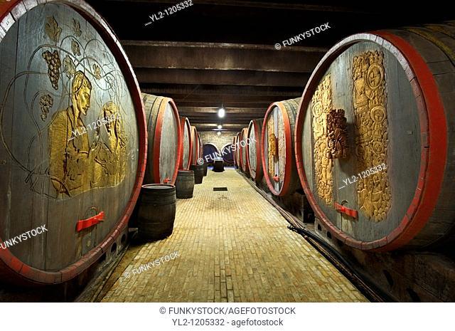 Kovacs wine cellars' wine barrels and bottles  Kovács Borház  Hajos  Hajós, Hungary