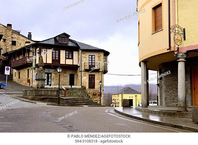 Facades, arcade and road in Puebla de Sanabria, Zamora, Spain