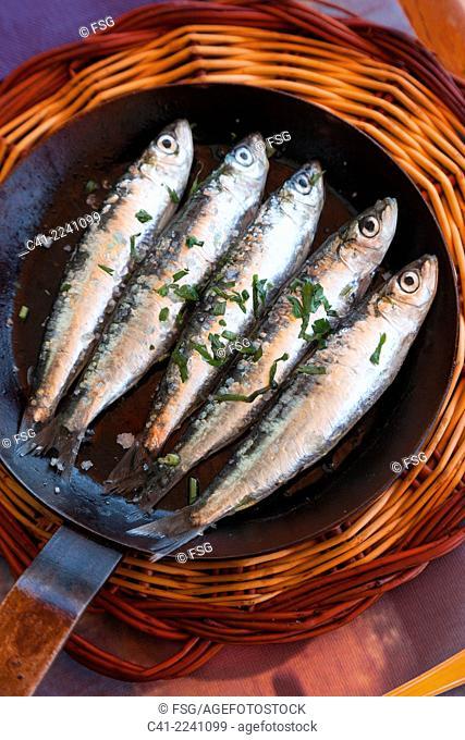 Sardines. Restaurant Tragamar. Calella de Palafrugell. Costa Brava, Girona. Spain