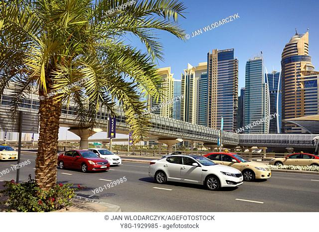 Dubai - Sheikh al Zayed road, main street of Dubai city, United Arab Emirates