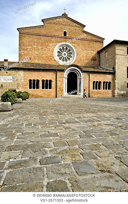 Fiastra Abbey Nature Reserve, the Abbey of Chiaravalle di Fiastra. Front view of the Church of St Mary, Tolentino, Marche, Italy, Europe