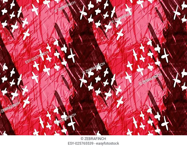 Marker hatched red with crosses.Abstract hand drawn with ink and marker brush seamless background.Textured pattern