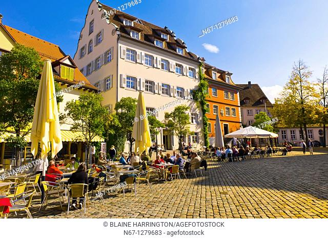 Schlossplatz, the medieval city of Meersburg on Lake Constance Bodensee, Baden-Württemberg, Germany