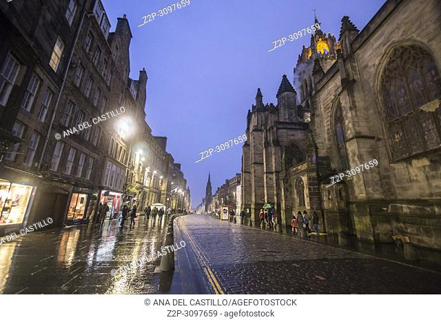 St Giles Cathedral by night in Edimburgh on January 22, 2018 Scotland UK