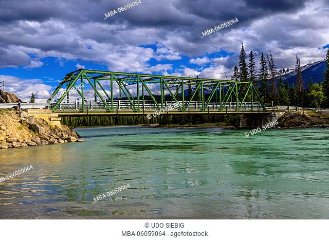 Canada, Alberta, Jasper National Park, Jasper, Athabasca River Bridge, Looking at Old Fort Point