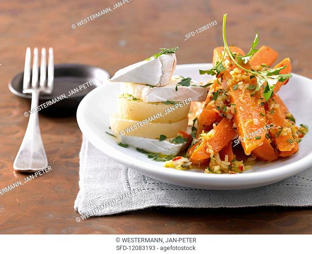 Ginger & chilli carrots with camembert and Harzer Käse (sour milk cheese)
