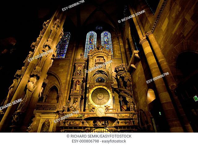 astronomical clock in Cathedral Notre Dame, Strasbourg, Alsace, France