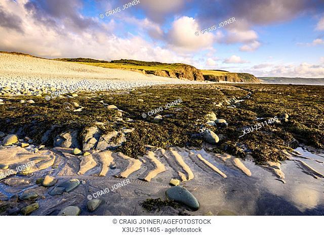 Cornborough Range and Abbotsham Cliff on the North Devon Coast near Abbotsham, England
