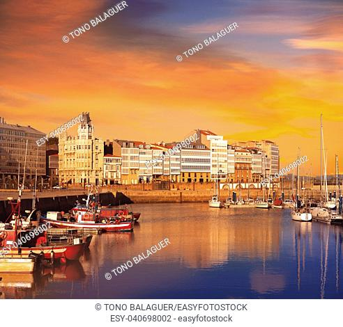 La Coruna sunset port marina in Galicia of Spain