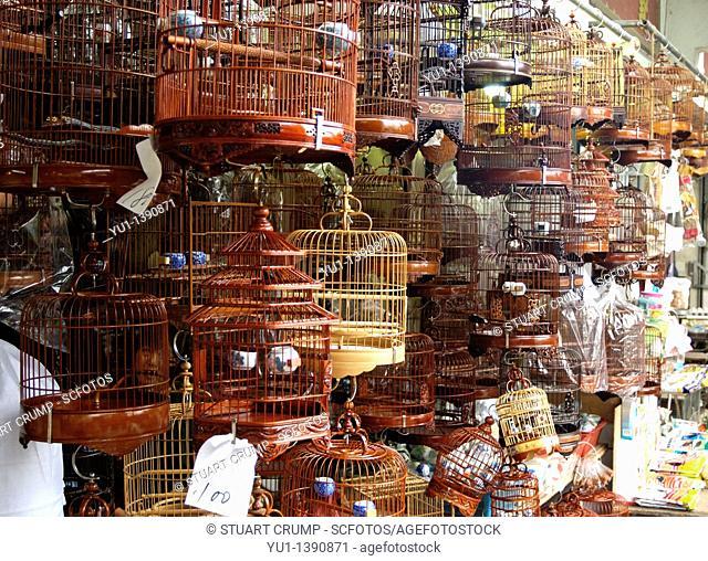 Caged Songbirds, Nathan Road on Yuen Po Street Bird Garden, Hong Kong, China, Far East, Asia