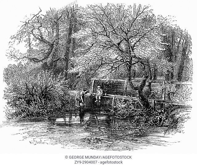 Woman collecting water, and young boy fishing in the Markeaton Brook is an 11-mile-long (17 km) tributary of the River Derwent in Derbyshire, England