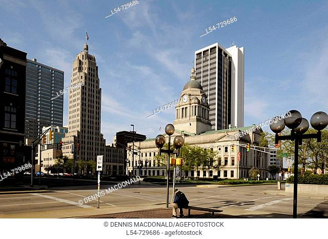 Fort Wayne Indiana skyline with Lincon Tower and City Hall