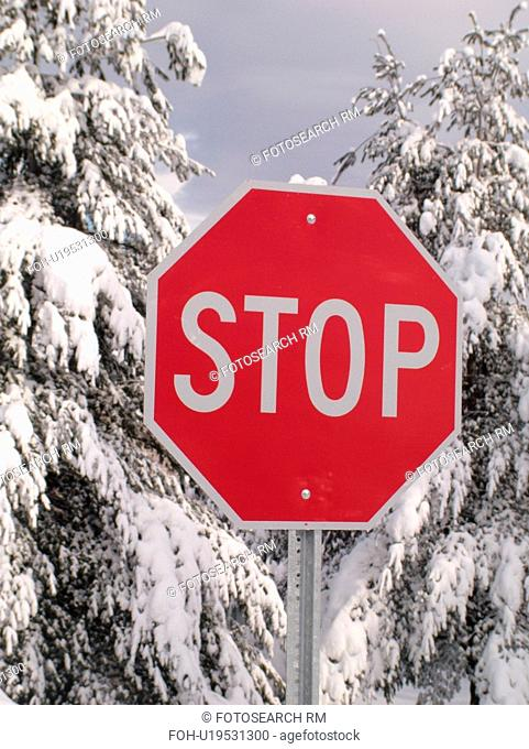 road sign, Stop Sign in the snow, snow-covered evergreen trees