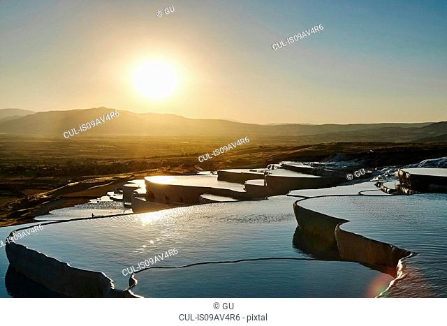 Sunset at hot spring terraces, Pamukkale, Anatolia, Turkey