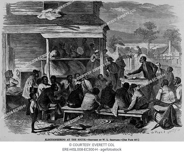 Electioneering in the South in summer 1868. During the ten years following the U.S. Civil War, African Americans participated in local and even national...