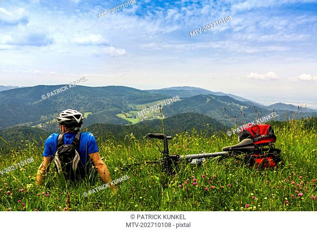 Rear view of man relaxing on grass and looking at mountains
