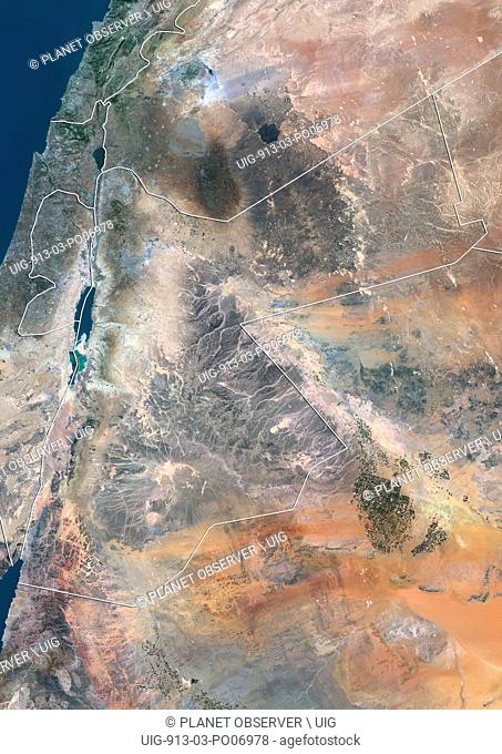 Satellite view of Jordan (with country boundaries). This image was compiled from data acquired by Landsat 8 satellite in 2014