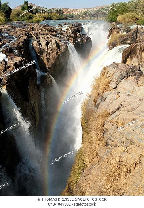 Namibia - At the beautiful Epupa Falls the Kunene River border river between Namibia and Angola drops in a series of cascades into a 60m deep gorge  Kaokoland