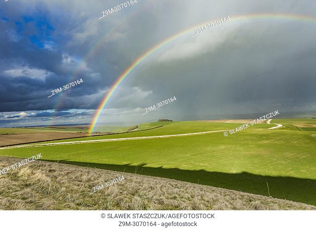 Double rainbow on the South Downs in early spring, West Sussex, England