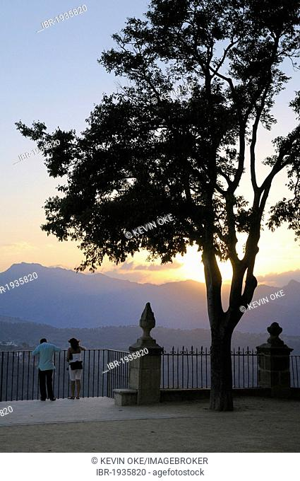 People enjoying the view from the Alameda del Tajo, Ronda, Malaga Province, Andalusia, Spain, Europe