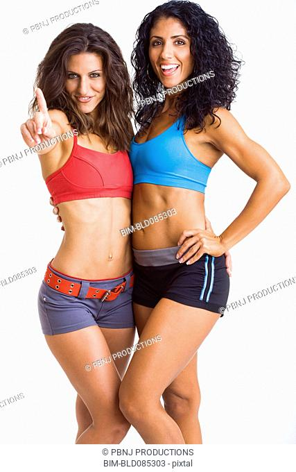 Friends standing together in sportswear