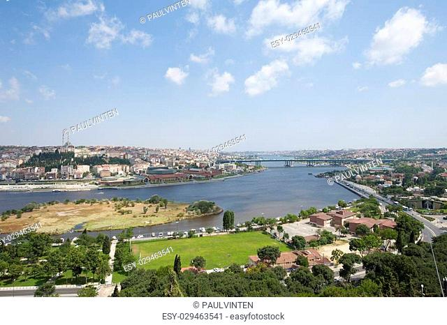 Aerial view over the Bosphorus River and Istanbul from Pierre Loti Cafe