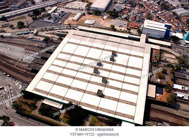 Aerial view, Terminal Highway of Barra Funda, Viaduct Antartica, Barra Funda, São Paulo, Brazil