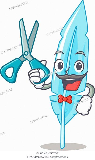 Barber feather character cartoon style vector illustration