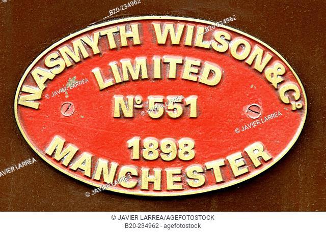 Nasmyth, Wilson & Co. sign, train at museum of railway history. Azpeitia. Guipúzcoa, Euskadi. Spain