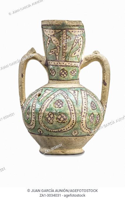 Moorish jar made of glazed clay technique found at Mengibar, Jaen. XII Century. Jaen Museum. Jaen, Spain