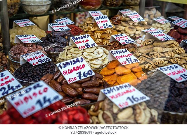 A lot of dried fruits and nuts for sale in Casa Natal old fashioned traditional grocery store in Porto city on Iberian Peninsula in Portugal
