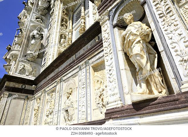 Certosa di Pavia details of facade, Pavia, Lombardy, Italy